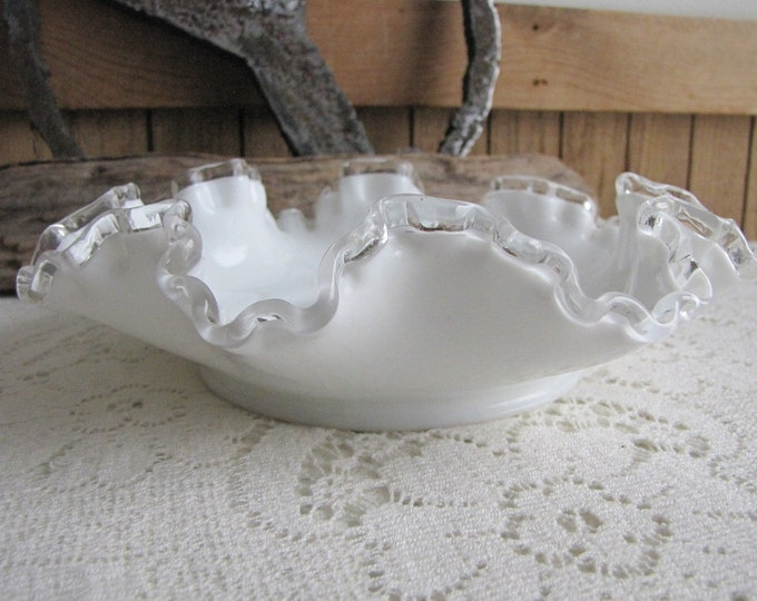 Fenton Silver Crest Candy Dish Vintage Milk Glass Crimped 1942-1986