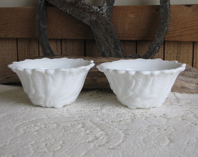 Vintage Milk Glass Wild Rose by Indiana Glass Two (2) Fruit Cocktail Bowls Vintage Kitchens and Decor