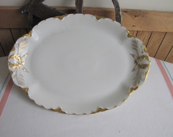 Haviland Ranson Small Dinner Platter Vintage Dinnerware and Replacements Gold Trim Circa 1920s