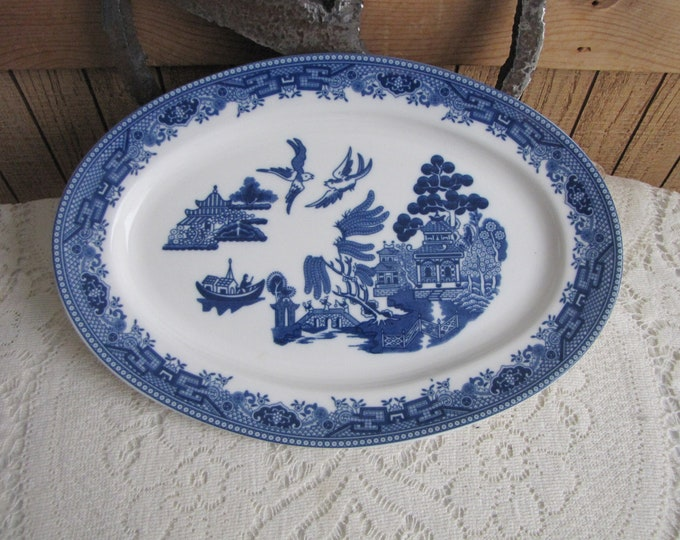 Blue Willow Platter Vintage Dinnerware and Replacements Chinoiserie Lions and Shield Logo