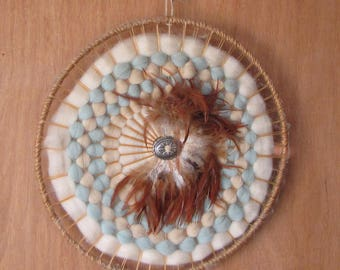 Vintage Mandala Native American Sheep Wool and Feathers Osage Artisans