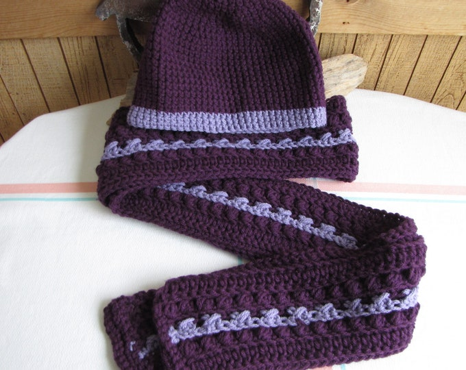 Crocheted Purple Winter Scarf Set Irish Stitch 100% Acrylic Yarn
