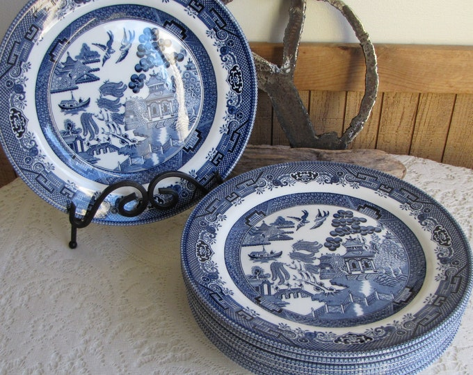Churchill Blue Willow Dinner Plates Vintage Dinnerware and Replacements Set of Nine (9)