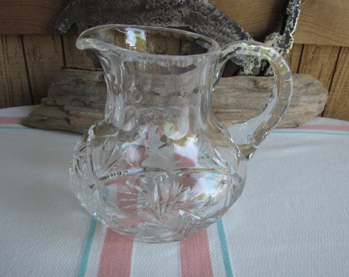Crystal Cut Glass Pitcher Pinwheels and Pineapples Vintage Dinnerware and Replacements