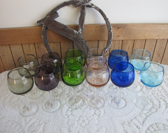 Coronation Cordial Glasses Sasaki Glassware Multi-Colors Vintage Barware Set of Twelve (12) Wineglasses