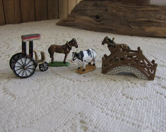 Miniature Cast Metal Farm Animals and Bridge Farm Villages Five (5) Pieces Hand Painted Miniatures