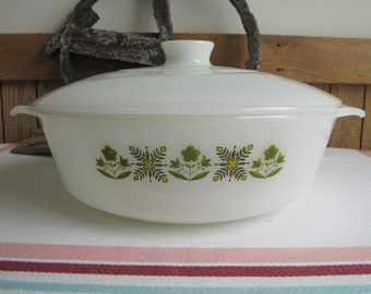 Fire King Meadow Green casserole dish 1968-1976 Vintage Oven and Cookware