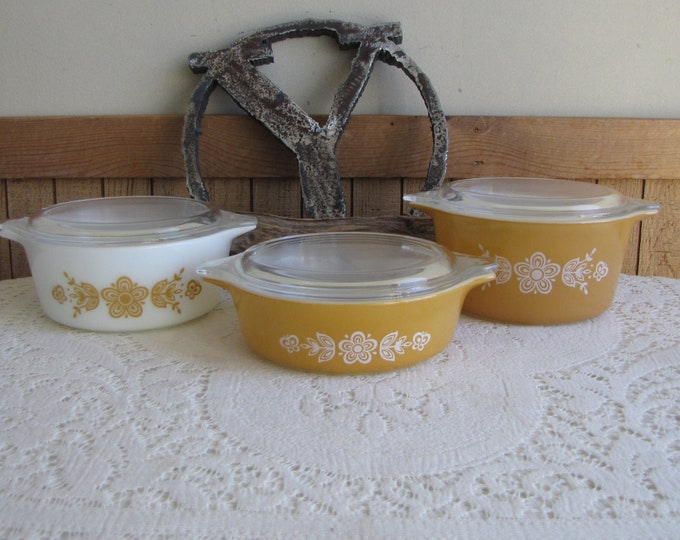 Pyrex Butterfly Gold Casseroles Set of Three Vintage Ovenware 1972