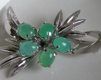 Sterling Silver Brooch with Green Glass Beads Vintage Jewelry and Accessories