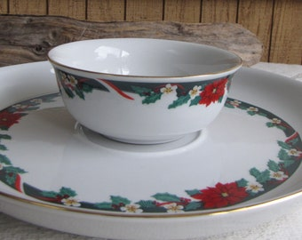 Deck the Halls Tienshan Chip and Dip Vintage Holiday Dinnerware and Replacements