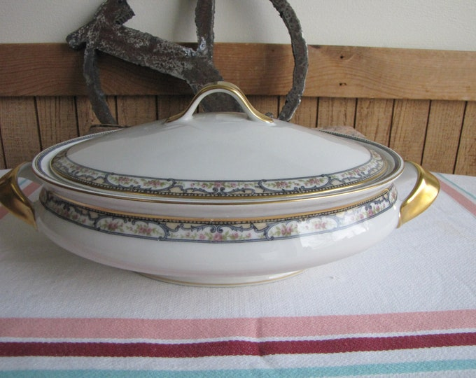 Theodore Haviland 1903 Covered Serving Bowl Antique Dinnerware and Replacements Imperfection