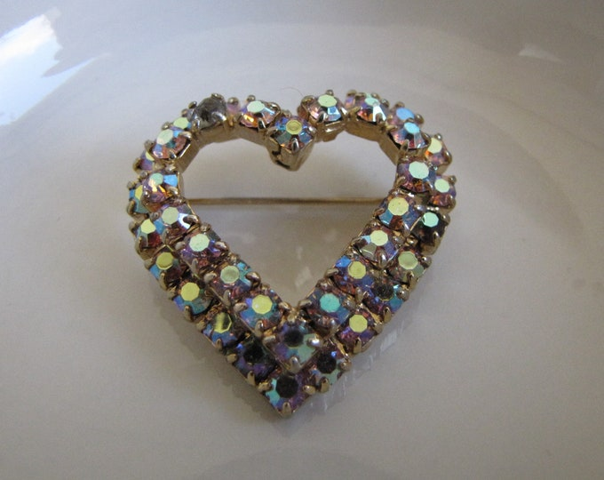 Rhinestone Heart Brooch Vintage Jewelry and Accessories