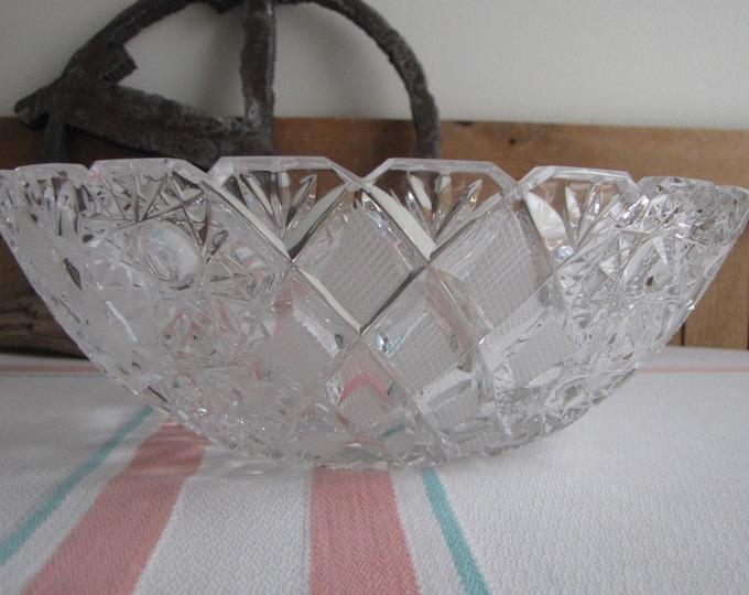 Antique USSR cut glass bowl Vintage glass