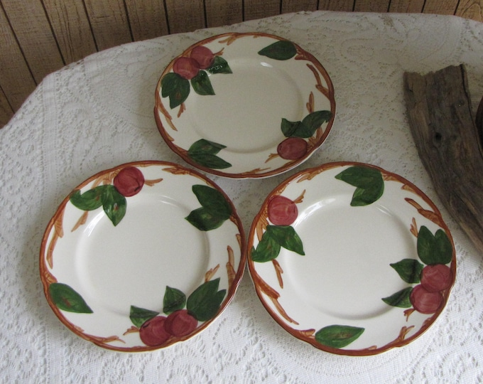 Franciscan Apple Salad Plates Set of Three (3) 1976 – 1978 Vintage Dinnerware and Replacements California Pottery