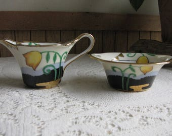 Noritake Cream Pitcher and Sugar Bowl Morimura Bros. Vintage Dinnerware and Replacements