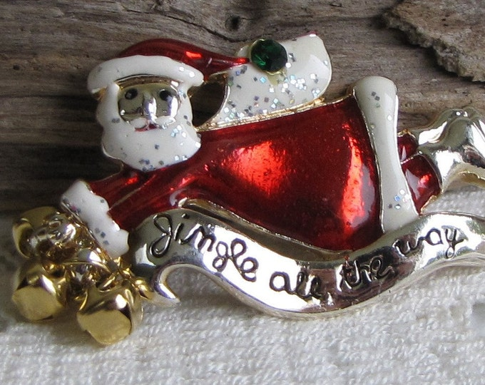 AAI Santa Jingle All the Way Brooch Silver Toned and Enameled Vintage Holiday Jewelry and Accessories