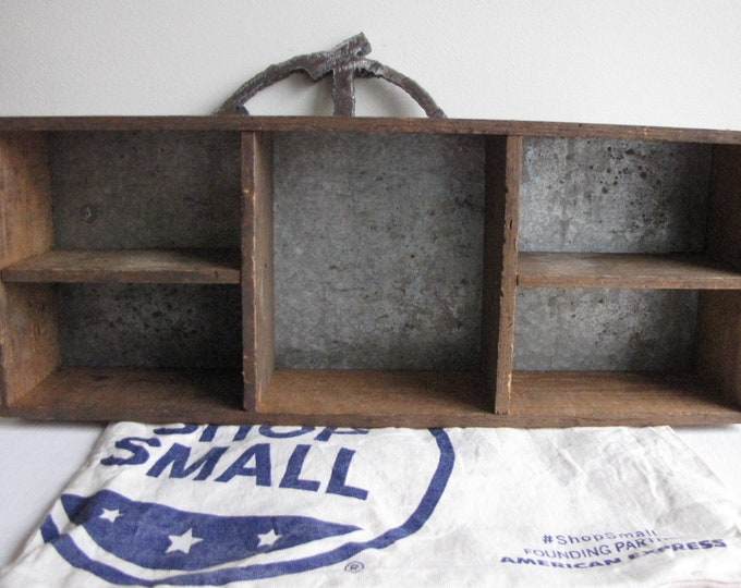 Wood and Tin Box Five (5) Compartments Vintage Boxes and Storage