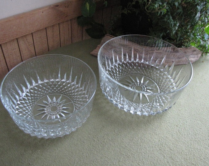 Vintage Arcoroc Serving Bowls Two (2) Diamant Salad Bowls Made in France