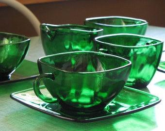 Forest Green Glass Four (4) Cups and Saucers and Cream and Sugar Bowl Charm 1950-1954 Vintage Dinnerware and Replacements