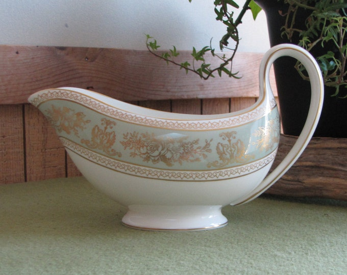 Wedgwood Gold Columbia Gravy Boat Sage Green Dragons and Flowers Vintage Dinnerware and Replacements 1966 - 2004