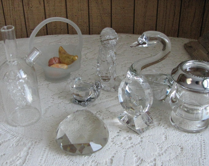 Crystal Small Glass Items Home Decor Vintage Lot of Eight (8) Pieces