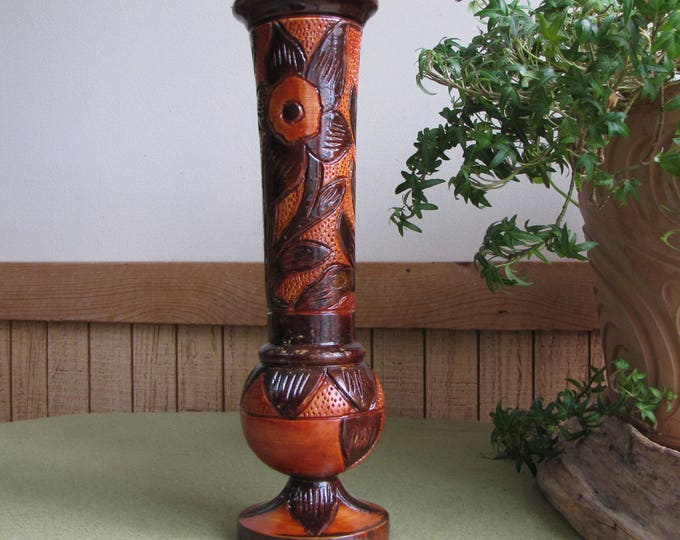 Vintage Wooden Vase Tall Wood Flower Vase Wood-carved Brown Glazed