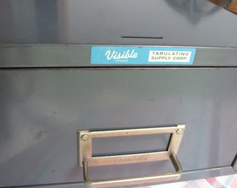 Visible Metal Card File Vintage Office