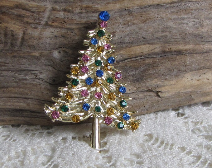 Gold Toned Christmas Tree Brooch Vintage Holiday Jewelry and Accessories