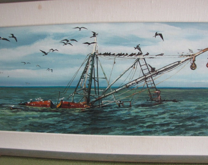 A Frigate Afternoon oil painting Key West Vintage Sea Art