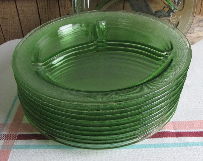 Green Depression Glass Homestead Smith Glass Grill Plates Ten (10) Available Priced Individually 1927 to 1931