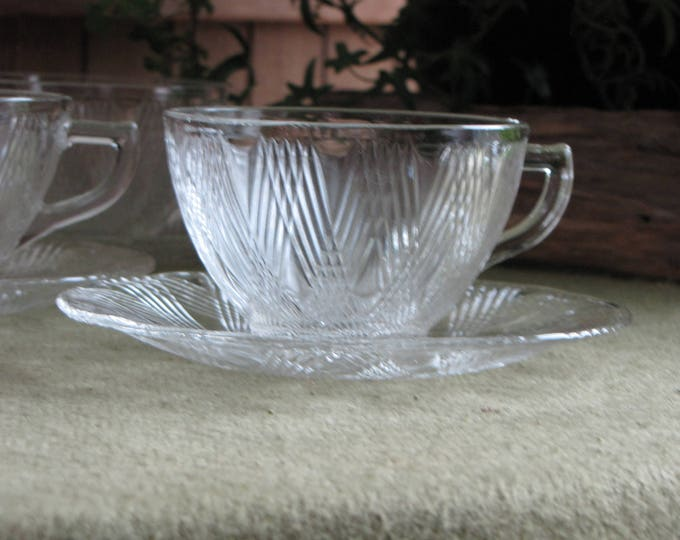 Hazel Atlas Starlight Cups and Saucers 1938 to 1940 Set of Five (5) Vintage Dinnerware and Replacements