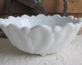 Milk Glass Wild Rose Bowl Indiana Glass Co. Vintage Dinnerware and Replacements