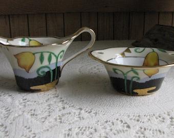 Antique Noritake cream and sugar bowl Morimura Bros.