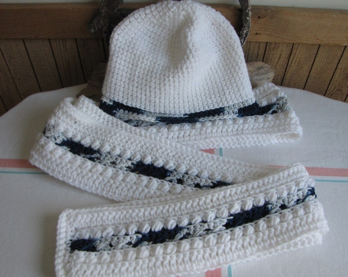 Crocheted white winter scarf set Irish stitch multi-blues insert 100% acrylic yarn
