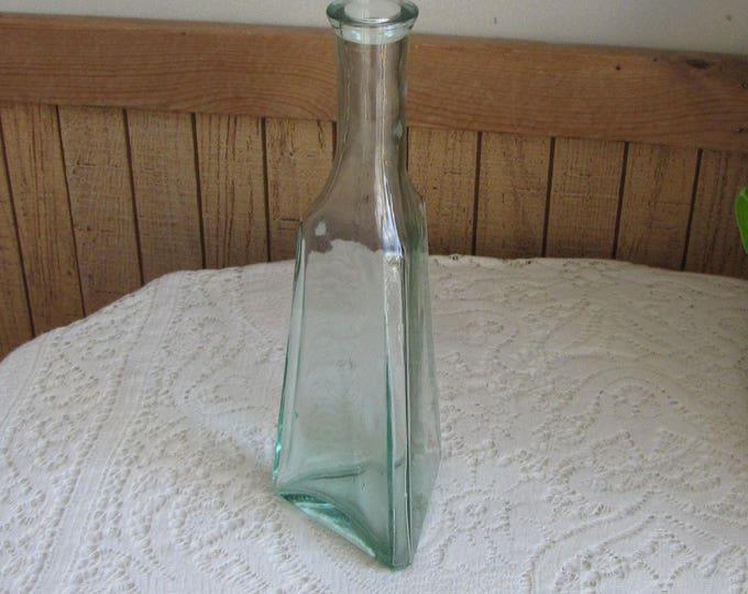 Old Bottle, Green Triangular Liquor Bottle or Decanter