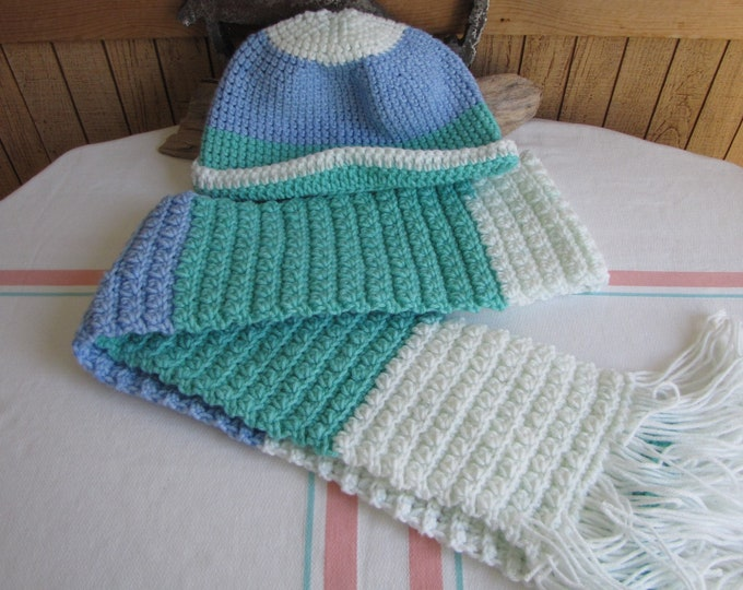 Crocheted winter scarf set blue teal and white popcorn stitched 100% acrylic yarn