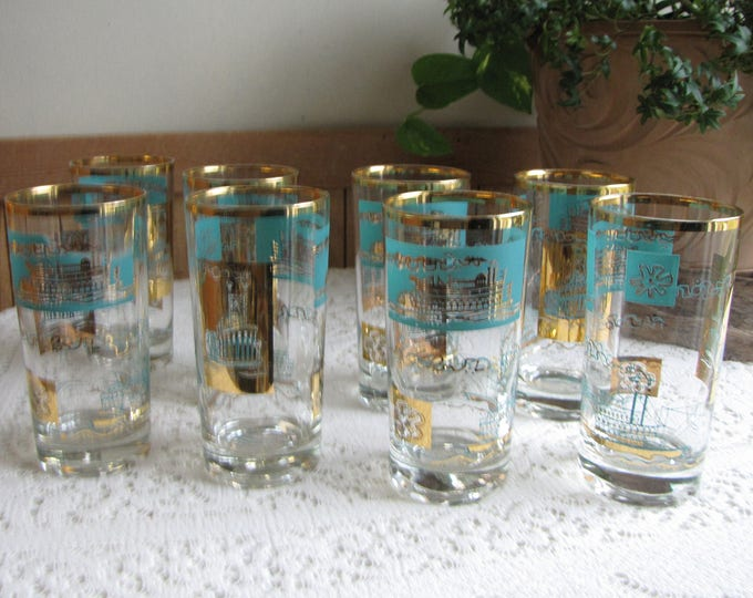 Riverboat Tumblers or Highball Glasses Gold Trimmed Southern Comfort Federal Glass Co. Set of Eight (8)