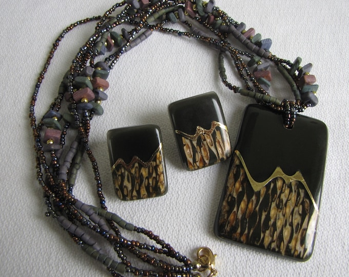 1980s Black and Gold Animal Print Necklace and Earrings Vintage Jewelry and Accessories