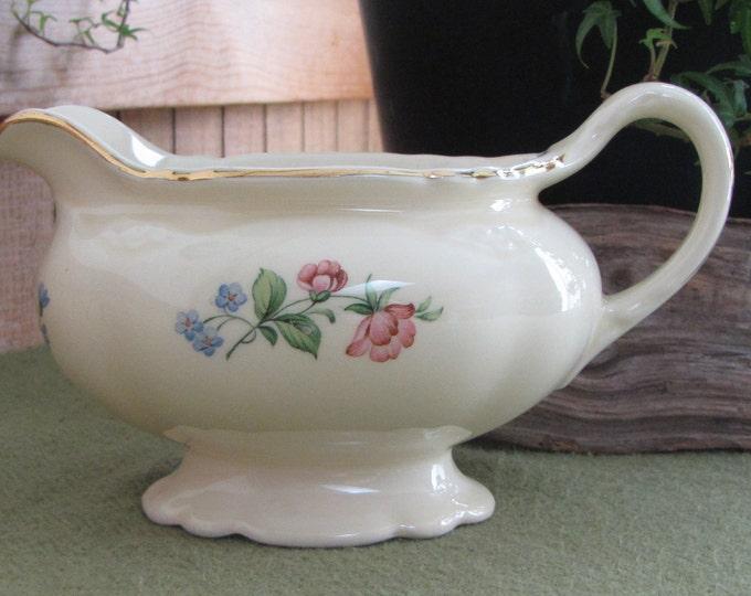 Vintage Cream Pitcher Homer Laughlin Virginia Rose Shape Springtime Pattern 1949