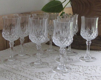 Cristal D'Arques Longchamps crystal wine glasses Set of 9