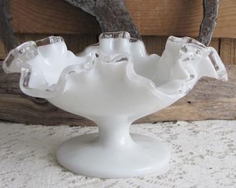 Fenton Silver Crest Vintage Milk Glass Crimped and Flared Bowl 1942-1986