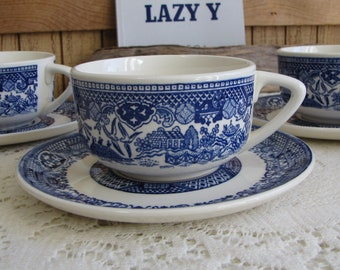 Blue Willow Ware Cups and Saucers Set of Four (4) Unique Pattern Vintage Dinnerware and Replacements