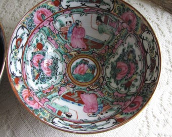 Japanese Imari Rice Bowls Set of Five (5) Canton Rose Pattern Vintage Dinnerware and Replacements Chinoiserie