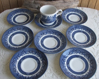 Blue Willow Saucers Made in England Set of Eight (8) Small Plates and One Cup Vintage Dinnerware and Replacements Plate Walls