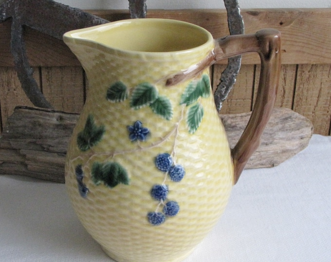 Tiffany & Co Yellow Pitcher Basket Weave and Flowers Pattern Vintage Dinnerware and Replacements Blackberries