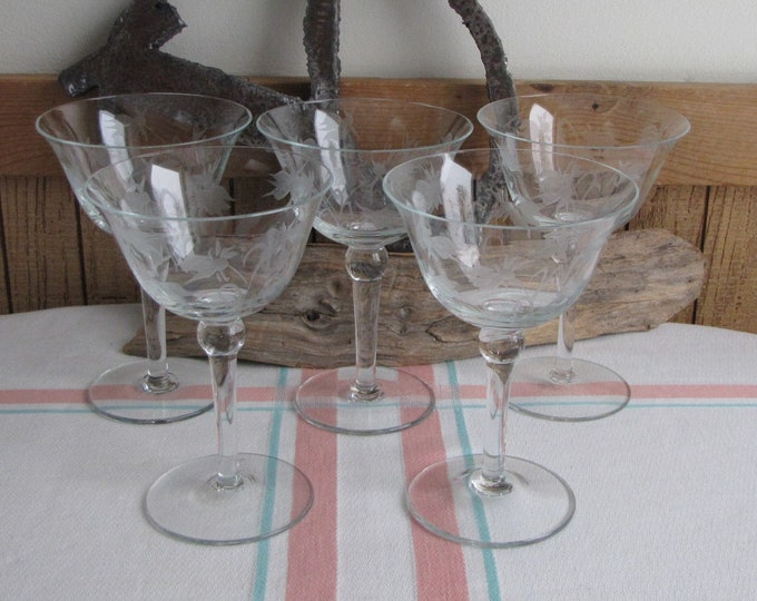 Etched Orchid Champagne Glasses Set of Five (5) Wine Glasses Vintage Barware and Drinkware