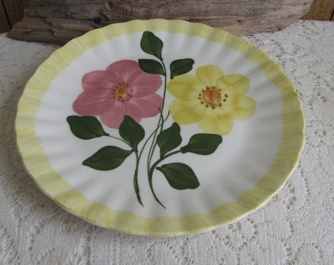 Southern Pottery Blue Ridge Wrinkled Rose Pattern Vintage Farmhouse and Rustic Home Décor Plate Walls