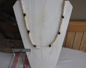 Faux Seed Pearl Necklace and Earrings Vintage Costume Jewelry and Accessories