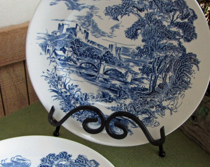 Vintage Countryside Blue Dinner Plates Set of Four (4) Enoch Wedgwood (Tunstall) LTD 1966 to 1968