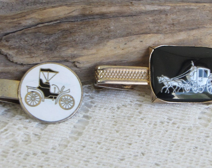Tie Clips (2) Model T and Horse and Carriage Vintage Men's Jewelry and Accessories
